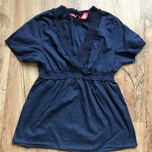 Contact NY blue Swiss dot print top. Size Large